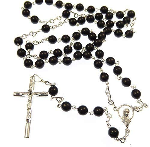 Grand argenté chapelet collier de perles en verre noir 6mm