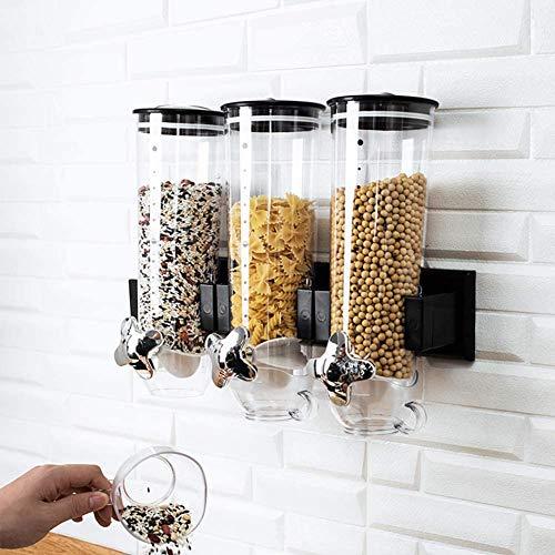 YXZN Dispensador De Alimentos Montar En La Pared, Triple Dispensador De Alimentos Secos De Plástico para Avena, Dulces, Granola, Frutos Secos, Frijoles, Pasas