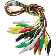 Haitronic 10 Pack Alligator Clips Double Ended Test Lead Crocodile Jumper Lead, (5 Pairs 5 Color) 18.9inch for Testing Circuit Connector - BBC Micro: bit/Arduino/Raspberry pi/Banana pi/Makey Makey