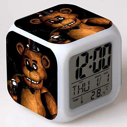 Zhuhuimin digitale wekker met nachtlampje LED 7 kleurverandering klok thermometer digitaal horloge voor kinderen