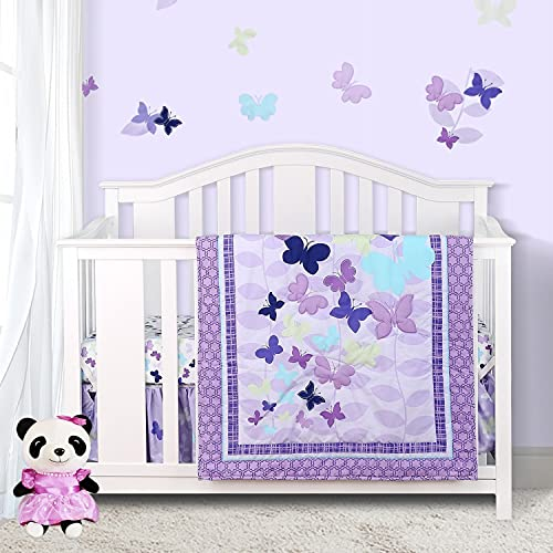Sweet Baba Luxury 4 Piece Butterfly Crib Bedding Set,Purple Crib Set for Baby Girls,Microfiber Printed Nursery Bedding Set with Comforter/Skirt/Crib Sheet/Blanket