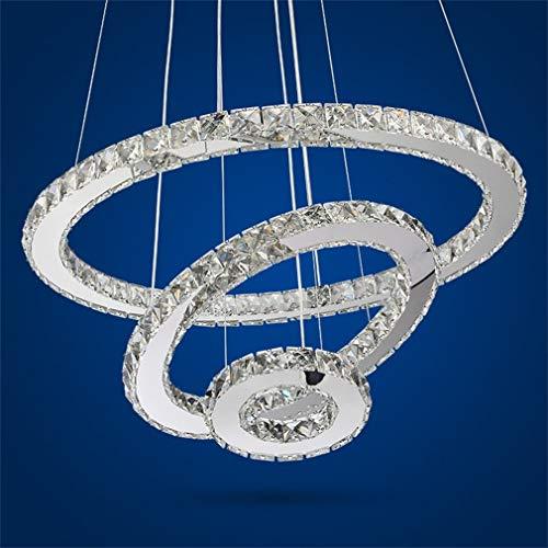 LED Modern Crystal Chandeliers 3 Ringe LED-Deckenleuchte Verstellbare Edelstahl-Pendelleuchte für Schlafzimmer Wohnzimmer Esszimmer (30+50+70 cm)