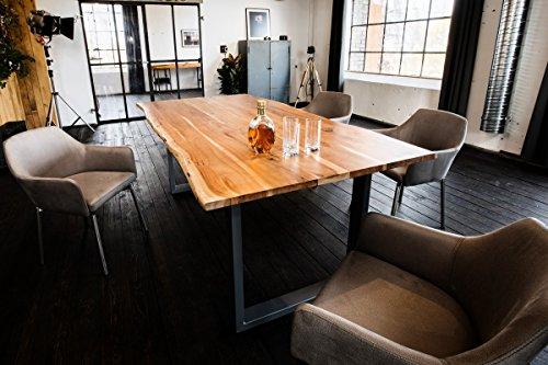 Kasper-Wohndesign massiv mit Baumkante (160, Fuß Silber) Esstisch, Holz, braun, 160 x 85 x 77 cm