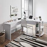 Bureau d'ordinateur en forme de L - Table de PC pour grande salle avec 2 étagères...