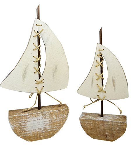 khevga Baddeko Badezimmer-Dekoration Deko-Schiff aus Holz 2er Set