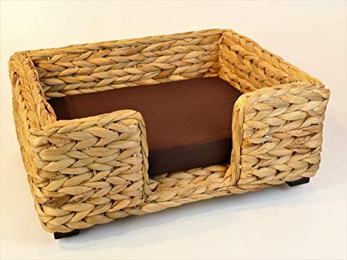 Artra Design Hundekorb/Katzenbett für Kleinere Hunde oder Katzen 'Keno' aus Wasserhyazinthe, Natur 50 cm