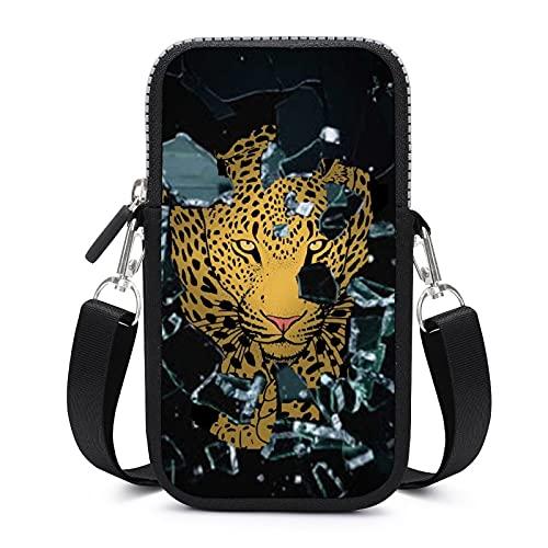 Bolso bandolera para teléfono móvil con correa de hombro extraíble, gafas de leopardo, resistente al desgaste, funda para brazalete de teléfono, cartera, gimnasio, fitness, hombres