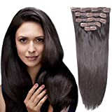 18'Clip in Remy Human Hair Extensionsdouble Weft Thick to Ends Dark Brown(#2) 6pieces 70Grams/2.45oz