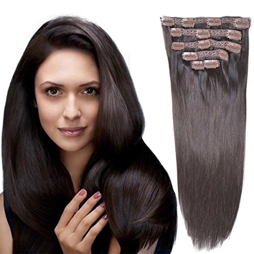 "18""Clip in Remy Human Hair Extensionsdouble Weft Thick to Ends Dark Brown(#2) 6pieces 70Grams/2.45oz"