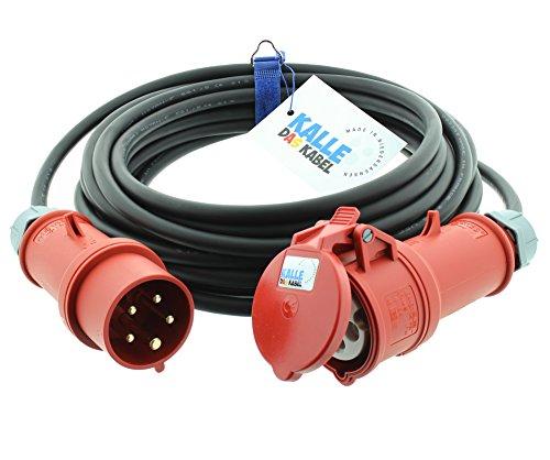 CEE-Verlängerungskabel Gummi H07RN-F 5G 2,5mm² 400V 16 A mit Phasenwender 10 Meter von KALLE DAS KABEL