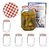 Van Well 6er Set Einkochgläser 720 ml Sturzglas Deckel Rot-Weiß Kariert Incl. Rezeptheft |...