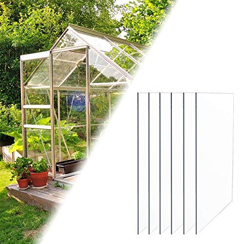 Aufun 6X Polycarbonat Massive Platte 4 mm Gewächshaus Platten 60,5 x 121 cm Doppelstegplatte für Garten Treibhaus Ersatzplatten Gartenbau Carports, UV-beständigen Cuttable, Solide
