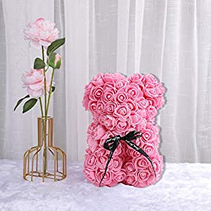 Silk Flower Arrangements HOMU Rose Teddy Bear Fully Assembled Rose Bear for Mothers Day, Valentines Day, Anniversary, Bridal Showers, 10 Inch/25CM, Clear Gift Box Included