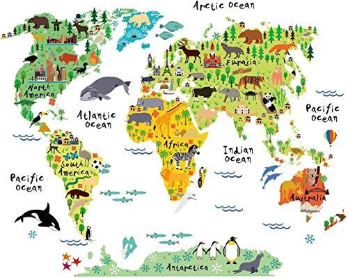 Pegatina de Pared Decoración Habitacion Infantil Mapa Mundi. Vinilo Decorativo Mapa para NIÑOS. Pegatina Decorativa Paises Y CONTINENTES. Tamaño 80x100 cm.