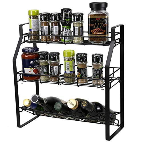 Spice Rack 3 Tier Spice Rack Organizer for Counter Stable Spice Shelf Standing Storage Rack for Seasoning Can Jars Bottle Kitchen Bathroom