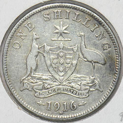 1916 AU Australia 1916 Georgivs V Shilling Kangaroo animal Ostrich Fine 901969 DE PO-01