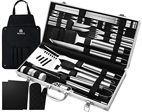 M MCIRCO 32PCS BBQ Grill Tools Set,Stainless Steel Grilling Accessories with Case, Storage Apron, Grill Mats, Thermometer for Backyard Barbecue Camping