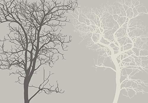 wandmotiv24 Fototapete Silhouetten Braun abstrakt XL 350 x 245 cm - 7 Teile Fototapeten, Wandbild, Motivtapeten, Vlies-Tapeten Abstrakt, Baum, Grau M1807