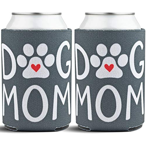 Dog Mom Beverage Can Coolers - Gifts for Dog Lovers & Dog Decorations for the Home - Insulated Drink Holders for Mom - Dog Paw Decoration Beer Cooler Sleeves for Women - 2-Pack, Grey