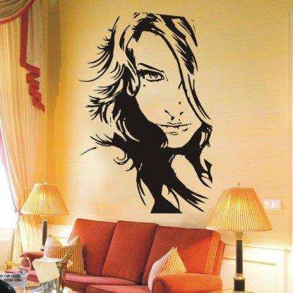 INDIGOS WG10429-70 Wandtattoo W429 Sexy Frau Mädchen Wandaufkleber 80 x 53 cm, schwarz