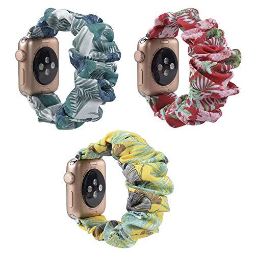 Facai - Correa elástica para Apple Watch de 38 mm y 40 mm, juego de 3 correas de repuesto compatibles con iwatch 1/2/3/4/5/6, tela de reloj en forma de búho