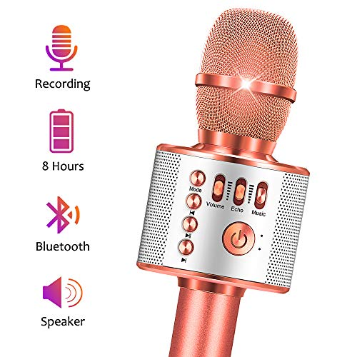 Wireless Bluetooth Karaoke Microphone for Kids Karaoke Machine for Kids Girls Boy 3 in 1 Multifunction Durable Handheld Karaoke Toy for 4-12 Year Old Girls and Boys Best Gift for Birthday Party
