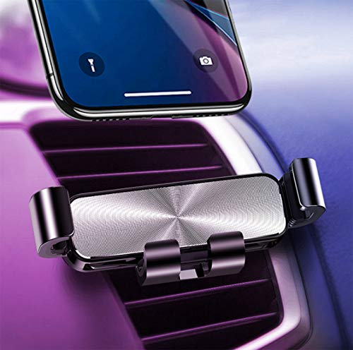 Car phone holder, metal gravity phone holder with vent, GPS phone holder, suitable for iPhone, Galaxy, Note8 Google, LG, Huawei and other smart phones