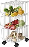 Meinirui Estante de almacenamiento apilable para carritos de cocina, estante de almacenamiento multifuncional para carritos de cocina, cesta de frutas enrollables con ruedas y tapa, para cocina, trast