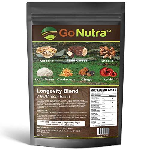 Go Nutra - Longevity Blend - Enhance Focus, Lions Mane, Chaga, Reishi, Cordyceps, Shitake, Maitake, Poria, Add to Coffee/Tea/Smoothies – Real Fruiting Body – No Fillers 100% Pure