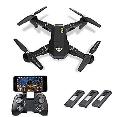 HUHU833 VISUO XS809HW Wifi FPV 2MP HD Foldable Selfie Drone+3 Rechargeable LiPo Battery
