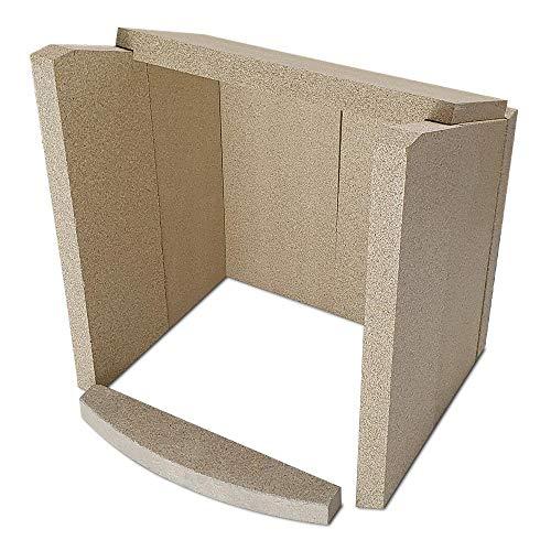 Kaminofen Vermiculiteplatten passend für Hark OPERA, OPERA-B, OPERA-BG, 107, 113, 56, 57, 61, KANDO, KENO, NIKA, PALOS, VERIS, BAROLO - Set 8-teilig Feuerraumauskleidung