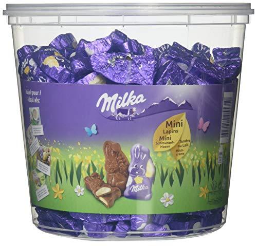 Mini Schmunzelhasen 1505g – Zartschmelzende Alpenmilch Schokolade gefüllt mit einer leckeren Milchcrème in der praktischen Vorratsdose