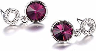 EL8TION Rhinestone Circle Jewel Drop Fashion Earrings -Purple made with genuine Swarovski crystal