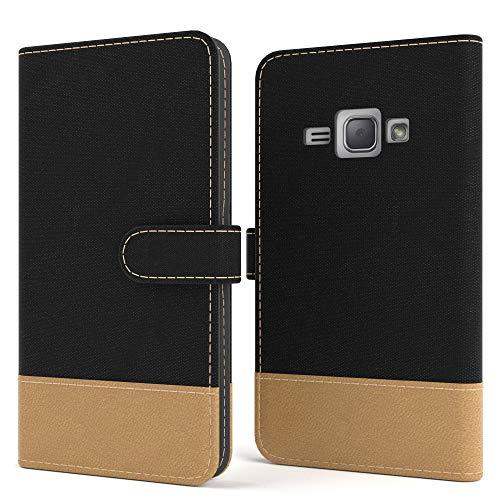 EAZY CASE Tasche kompatibel mit Samsung Galaxy J1 (2016) Stoff Schutzhülle mit Standfunktion Klapphülle Bookstyle, Handytasche Handyhülle mit Magnetverschluss & Kartenfach, Kunstleder, Schwarz