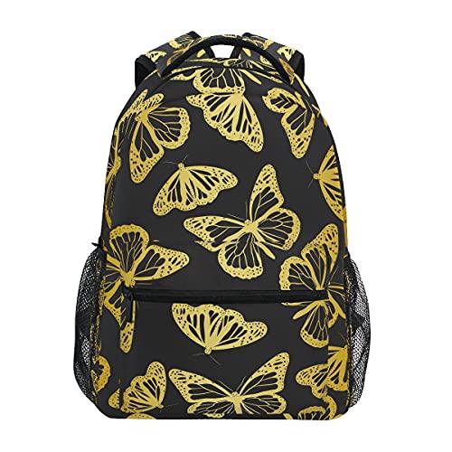 Mochila dorada silueta de mariposas para adultos y adolescentes, escuela, portátil, mochila de viaje de negocios, trabajo, computadora