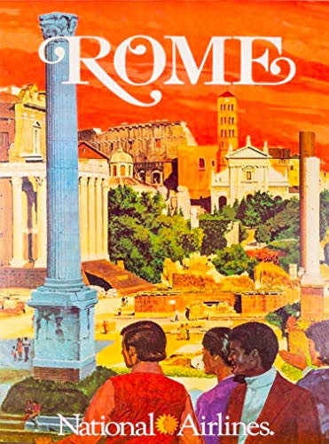 A SLICE IN TIME Rome Italy Italia National Airlines Vintage Travel Home Collectible Wall Decor Advertisement Art Poster Print. 10 x 13.5 inches.