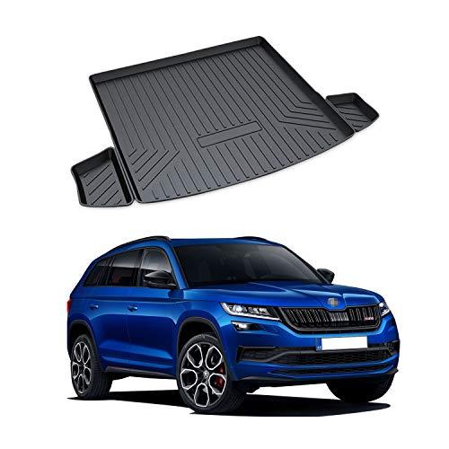 YEE PIN Kofferraummatte für Skoda Kodiaq RS 2016-2019 | Seitenschutz TPO Material Laderaumschale Schutzmatte für Sicheren Transport von Gepäck Rutschfester Autozubehör(Nur für 5-Sitzer geeignet)