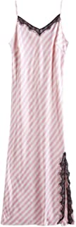 2 pcs, Silk Cloth Nightdress, Feminine Suspender Nightdress, Sleeveless Summer Pajamas, Casual Home wear, Split Hem, lace Decoration (Color : Pink, Size : L)