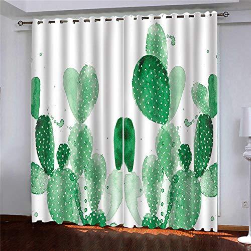 MENGBB Cortina Opaca Microfibra Infantil 110x140cm Estampado de Cactus Verde 95% Opaca Cortina aislantes de frío y Calor Decorativa con Ojales Estilo para Salón Habitación y Dormitorio
