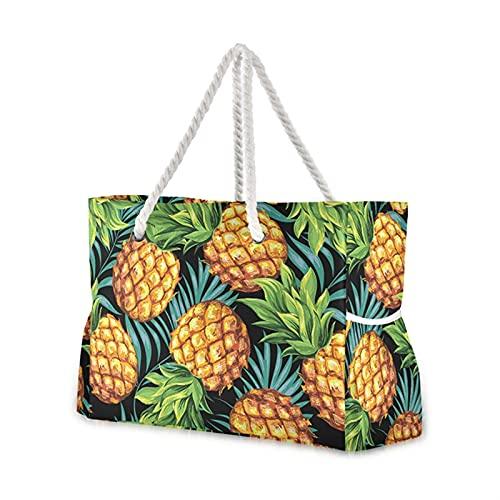 yqs Bolsa de Playa Bolsa de Asas de Playa Moda Mujeres Verano Gran Capacidad Tropical Palm Monstera Hojas Bolsa de Hombro Bolsos Top-Handbag Bolsas (Color : 04)