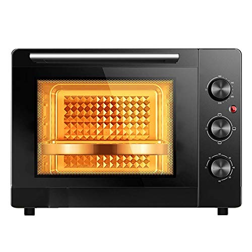CMmin Keuken Elektrische Countertop Rotisserie Toaster, Cooker met Food Warming Kookplaten, for het bakken Koken, verstelbare temperatuurregeling en timer, 1500W, Zwart