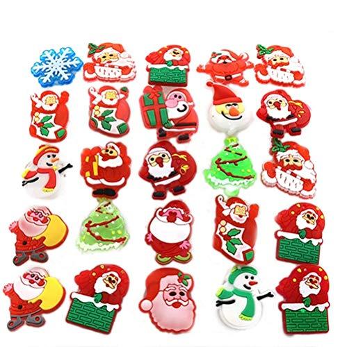 BESTOYARD Broche de Navidad con luces LED para fiestas de niños, 50 unidades (estilo mixto)