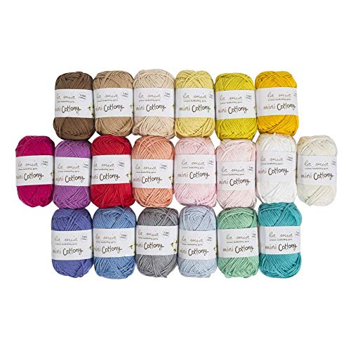 Lamia Mini Cottony 20 Skein 100% Cotton Mini Yarn, Total 17.6 Oz Each 0.88 Oz (25g) / 65 Yrds (60m), Light, Dk, Worsted Assorted Colors Yarn