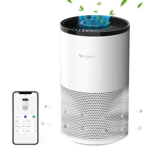 proscenic A8 Purificador de aire Compatible con App y Alexa,4 Etapas de Filtración,HEPA H13 y Carbón Activo,Sirve para Olor de Tabaco,Metano,Polen y Capas de Mascota,hasta 55 m²y CADR de 220 m3/h