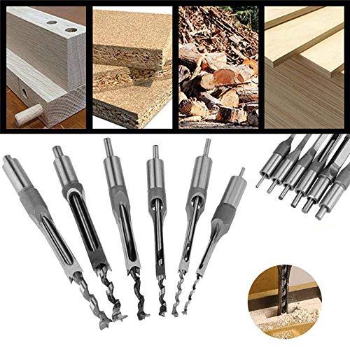 Clouking Bohrer mit quadratischem Loch, 6 Stück, Holzbohrer aus Stahl, für Holzarbeiten, 6,35 mm/8 mm/9,5 mm/12,7 mm/14 mm/16 mm