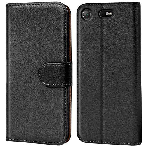 Verco Handyhülle für Sony XZ1 Compact Hülle, Schutzhülle für Sony Xperia XZ1 Compact Tasche PU Leder Flip Case Brieftasche - Schwarz