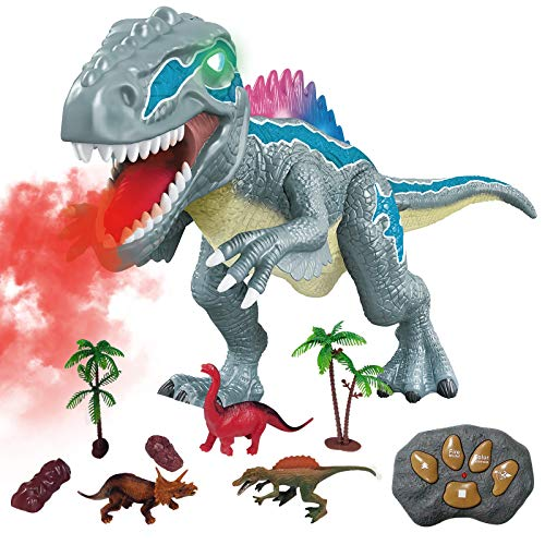 WISHTIME Remote Control Dinosaur Toys for Kids - Electronic Toy Walking Spray Mist Realistic Velociraptor Dinosaur Toys with LED Light Up, Roaring Sound, Shaking Head For Toddlers Boys Girls