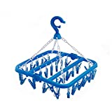 SteelFever Foldable Clip and Drip Hanger with 32 Clips - Hanging Drying Rack (Blue)