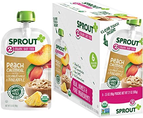 Sprout Organic Baby Food Pouches Stage 2 Peach Oatmeal w Coconut Milk and Pineapple 3 5 Ounce product image