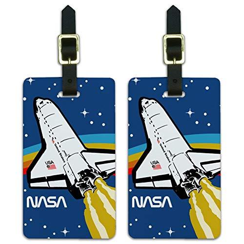 NASA Logo Over Space Shuttle mit Regenbogen Gepäckanhänger Ausweiskarten 2er Set